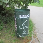 Photos taken by Leah Heiser-  Kampa Park. The Picture on the left is of a trash can maker with a tag.