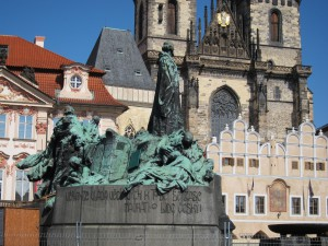 The statue was built in 1915 which was 500 years after the death of Jan Hus. The memorial was built completely on donations. (Photo by Mary Betz)