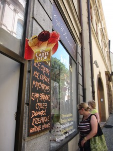 A restaurant lists its specials in both Czech and English. It is astounding the number of languages many menus in Prague contain to accommodate tourists. (Photo by Mary Betz)