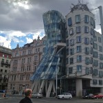 The Dancing House's non-traditional design stands out among Prague's famous Baroque and Art Nouveau buildings.