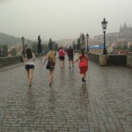 The students running across the usually crowded Charles Bridge in the pouring rain. Student Leah Heiser said it was a liberating experience.